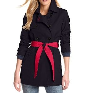 Tommy Hilfiger Navy Belted Trench Coat
